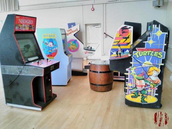 Eight arcade video games machines