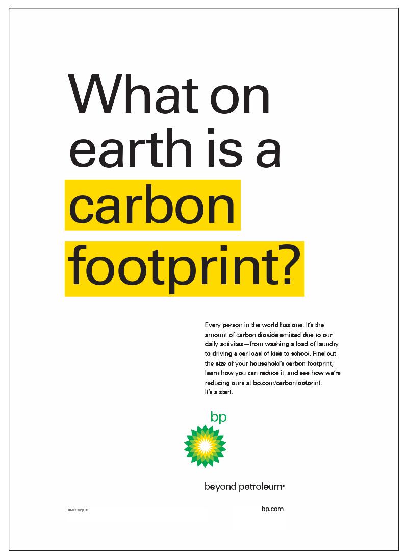BP Carbon Footprint Campaign Poster