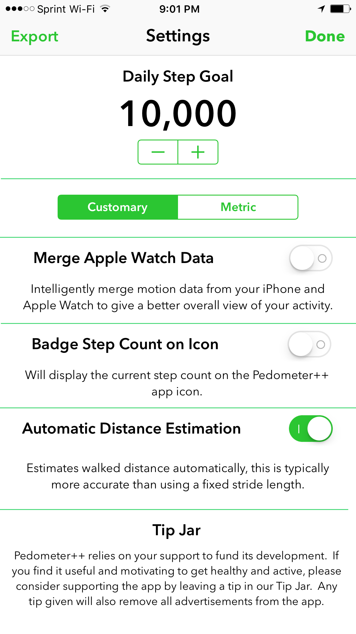 Pedometer++ settings screen