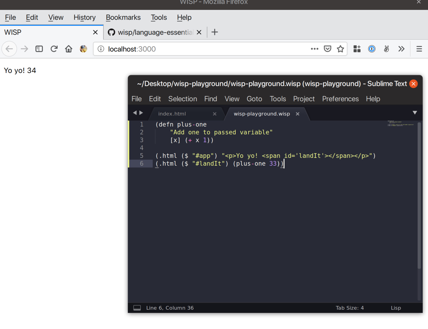 Screenshot of a text editor and a browser window. The text editor has jquery as a lisp.
