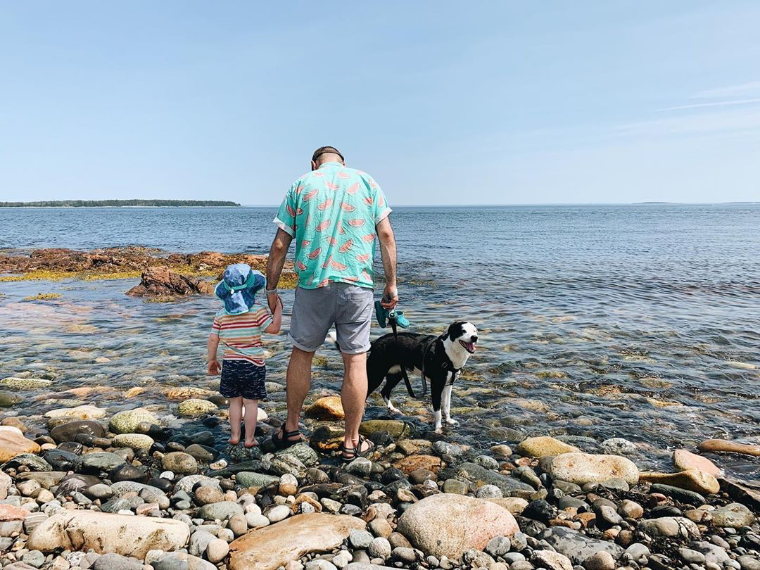 Dog, dad, and kid at the beach