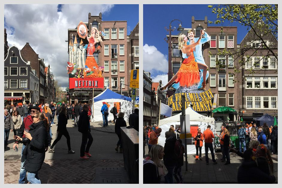 Giant Dutch royal family themed cutouts at Cafe De Blaffende Vis from 2015 and 2016