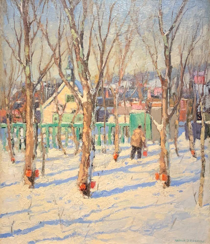 Arthur Dominique Rozaire: Winter, Sap Buckets, Quebec