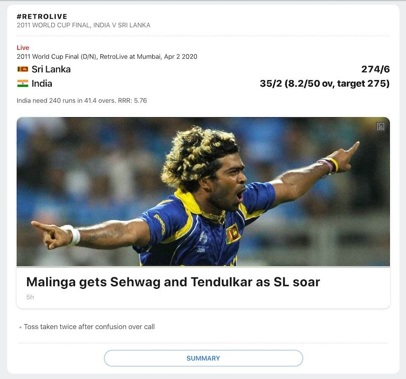 ESPN Cricinfo Retrolive