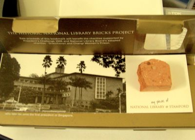 Bookmark made of brick from the library