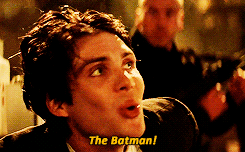 "Cillian Murphy as ""The Scarecrow"" Batman villain says ""The Batman!"""