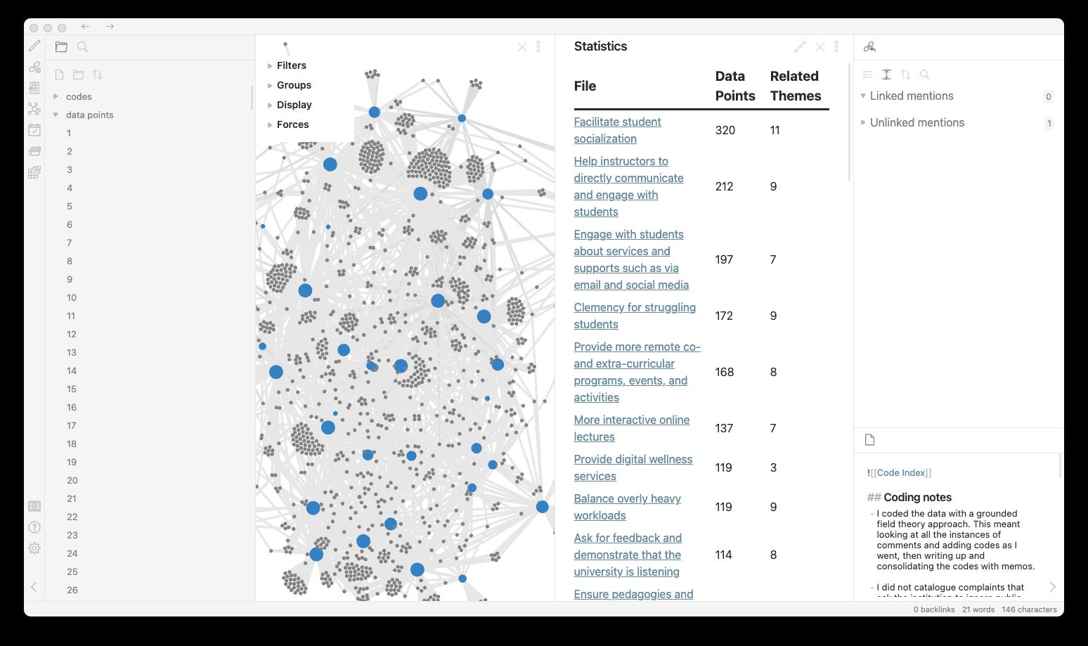 Qualitative data analysis using Obsidian