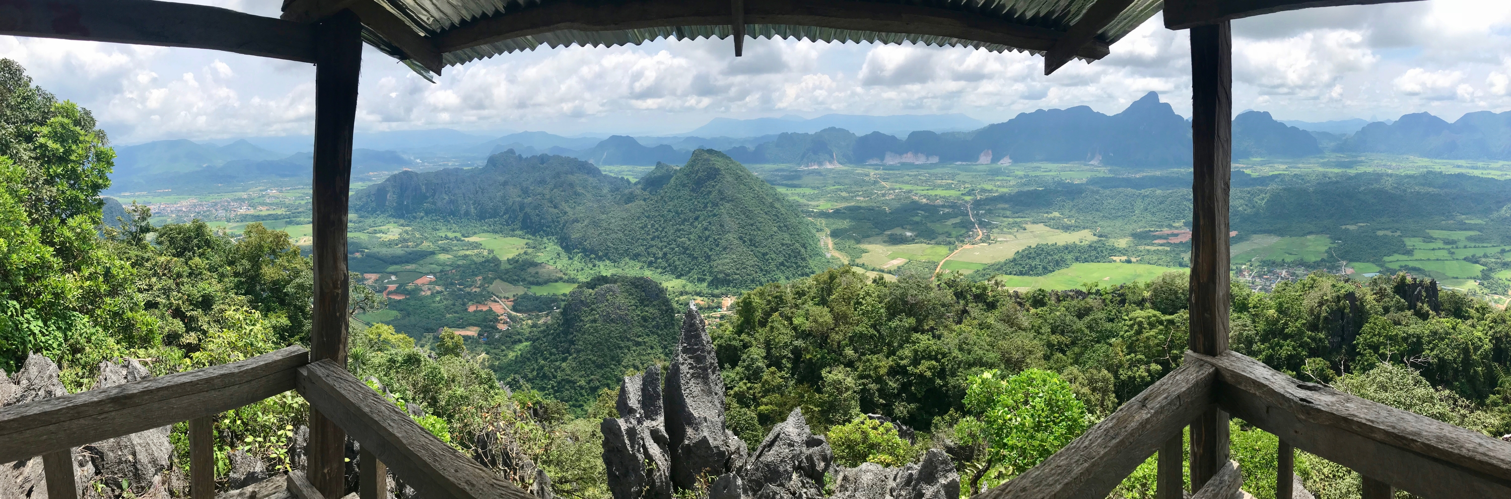 Panorama from the top of Pha Ngeun, a hike in Vang Vieng