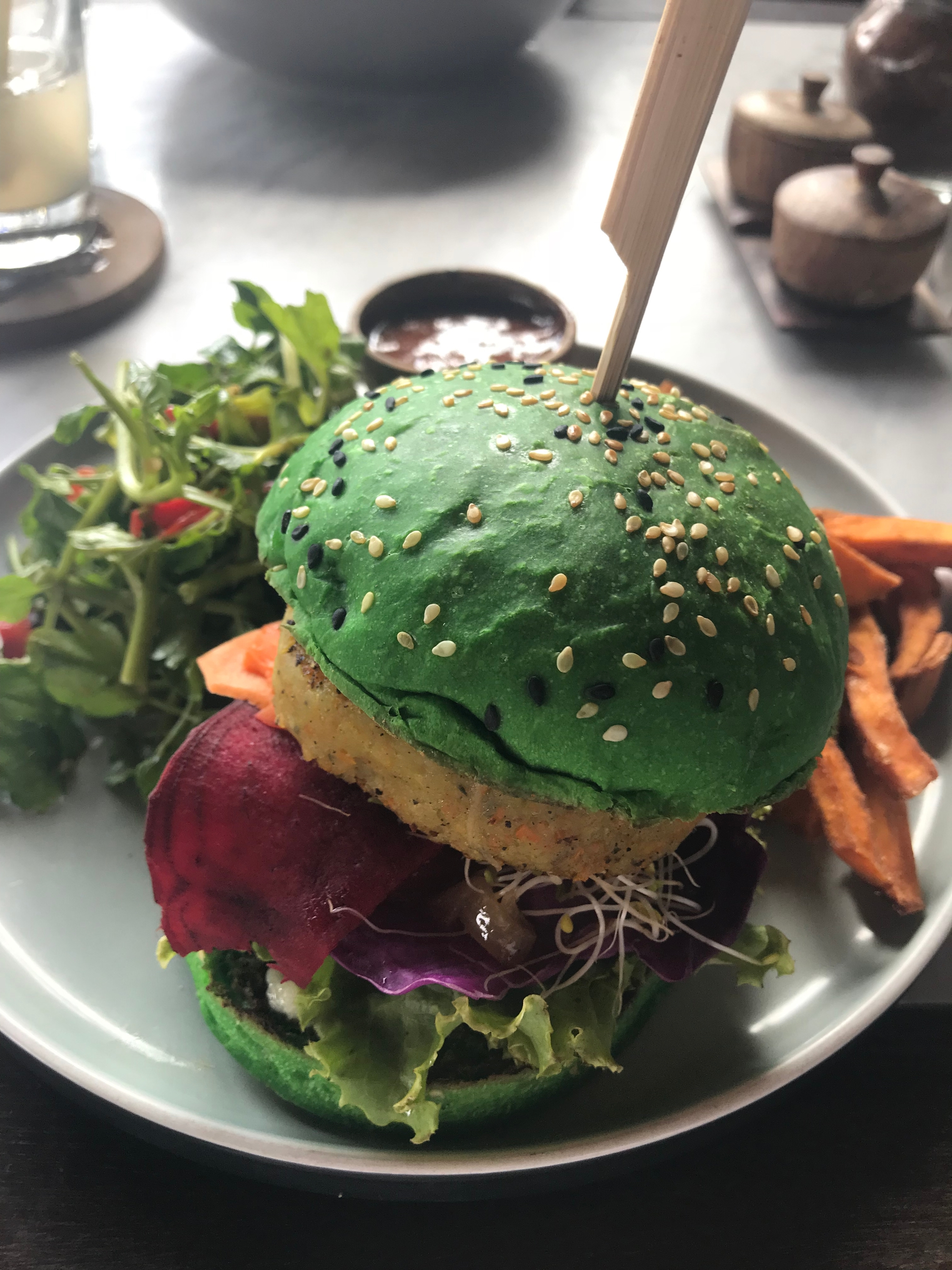 Veggie burgers and green buns