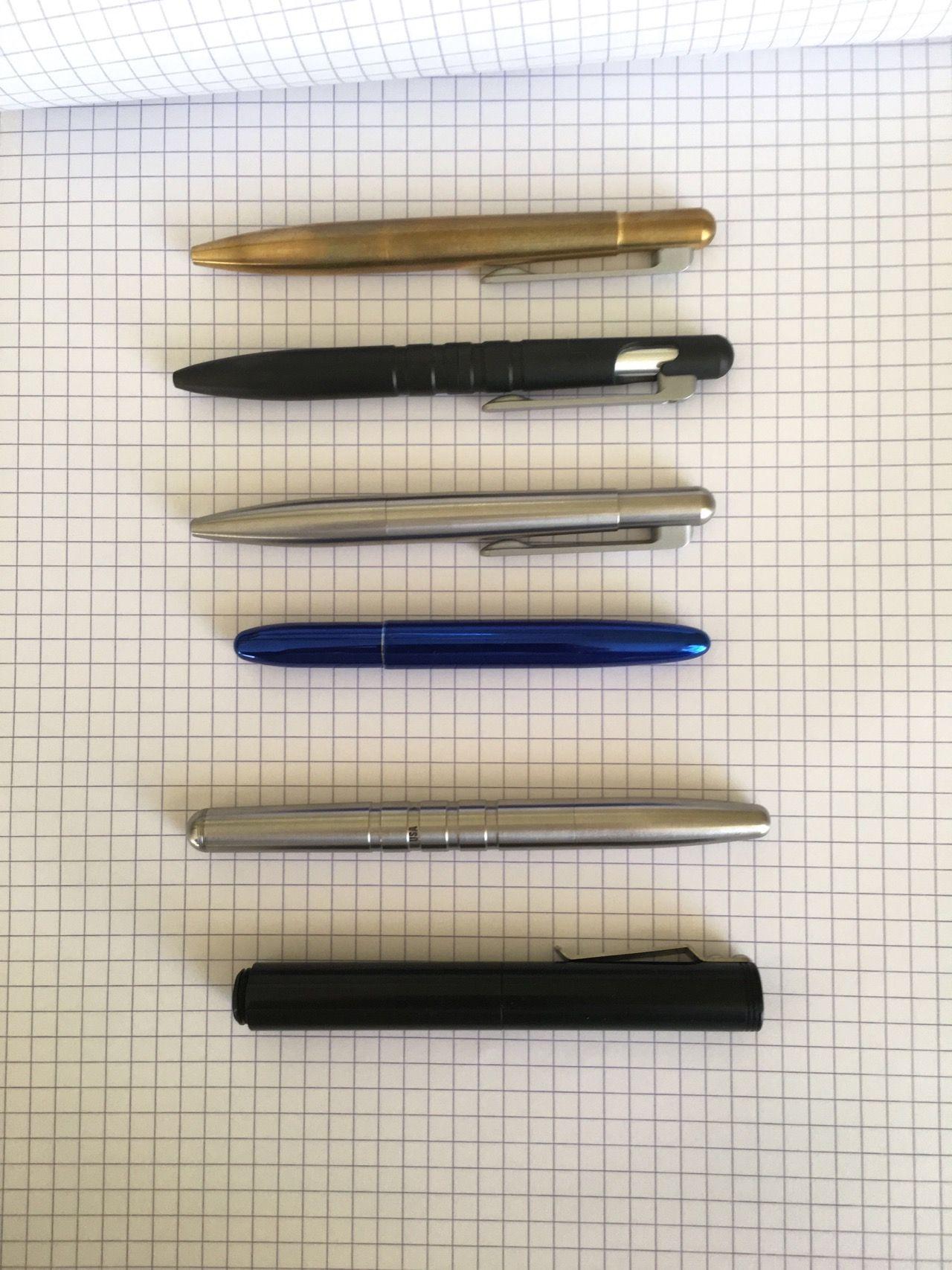 Top to Bottom: Brass Field Pen Compact, Field Pen, Stainless Steel Field Pen Compact, Fisher Bullet, Machine Era Co Pen, Schon DSGN Pen