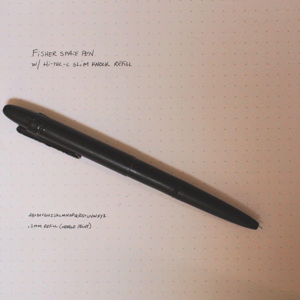 Pilot Hi-Tec-C Slim Knock refill hacked for Fisher Space Pen