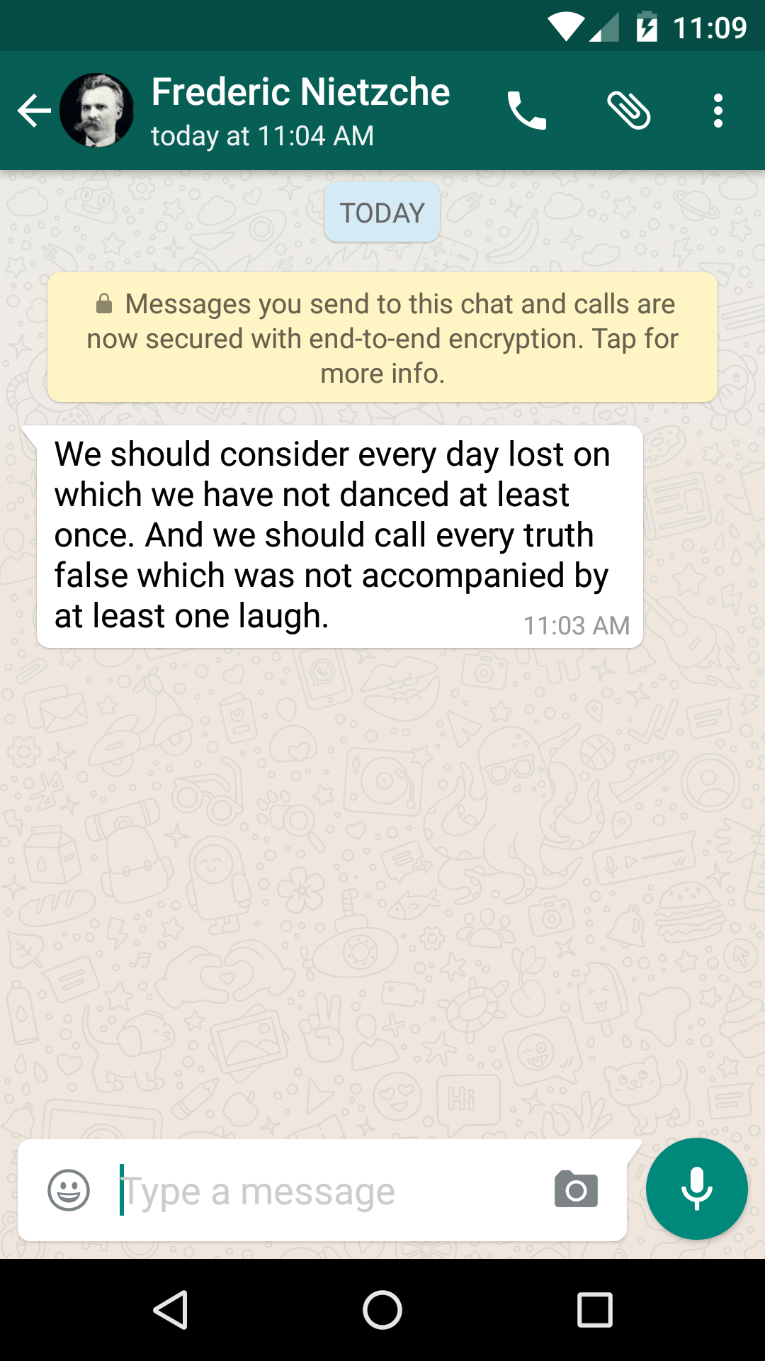 WhatsApp encryption announcement message