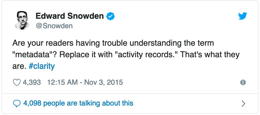 ¿Sus lectores tienen problemas para entender el término «metadatos»? Sustitúyalo por «registros de actividad». Eso es lo que son. #claridad