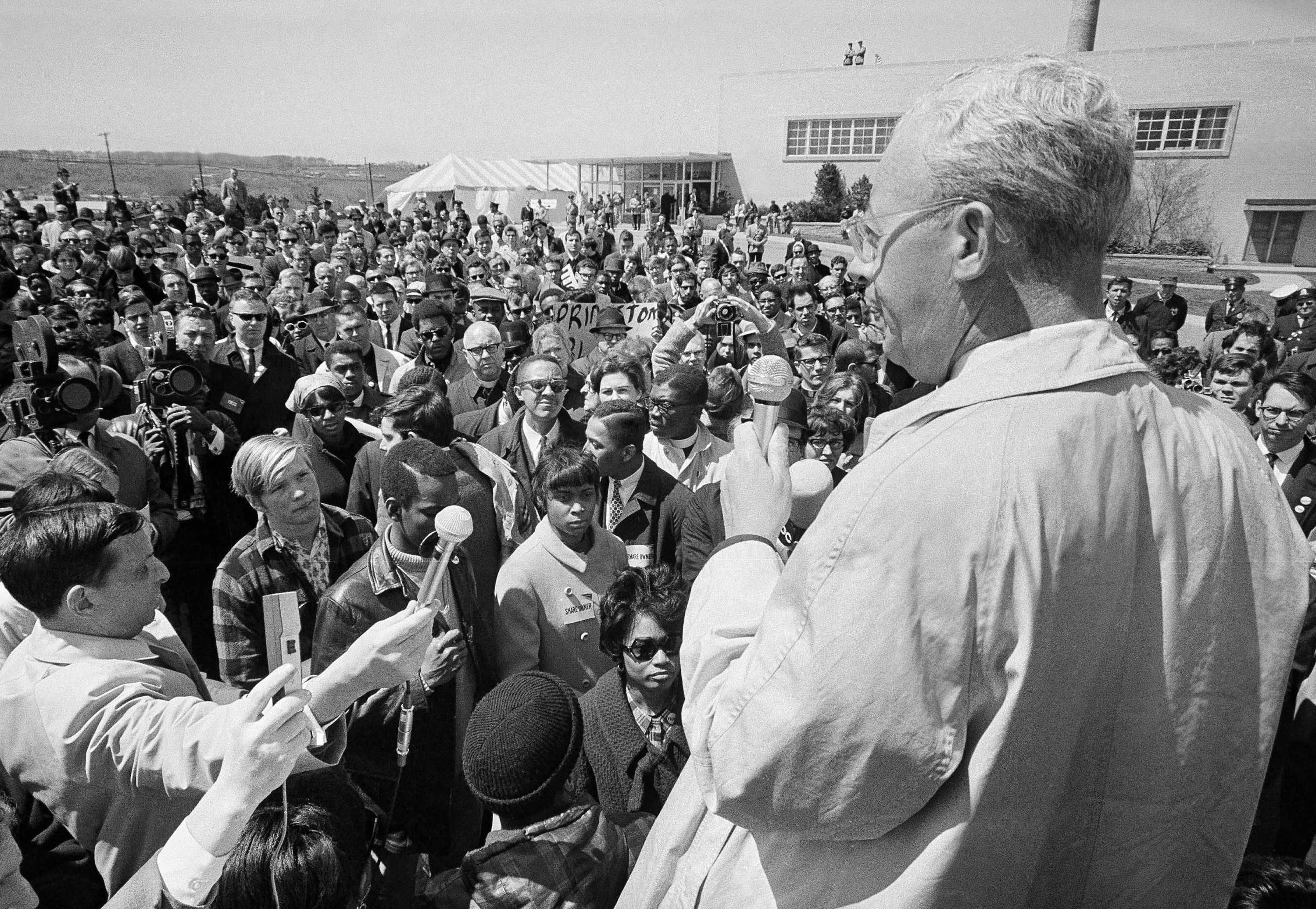 Saul Alinsky addressing a crowd, photographer unknown
