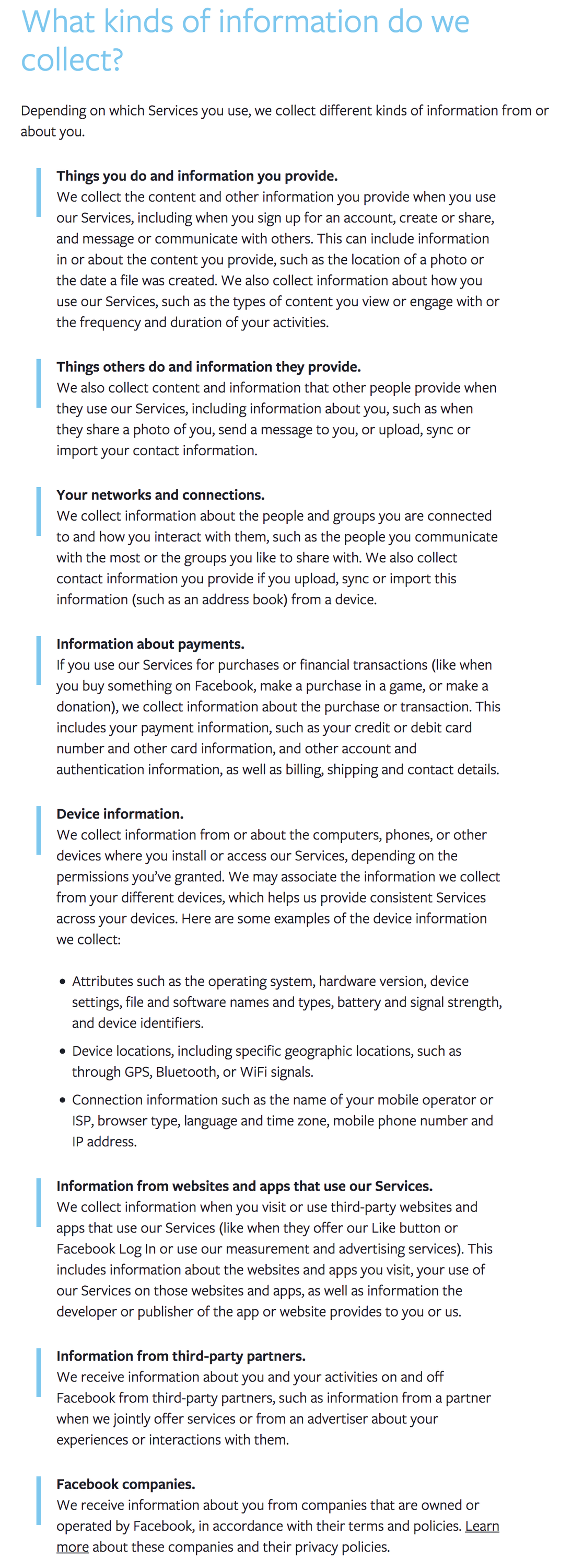 facebook data collection policy