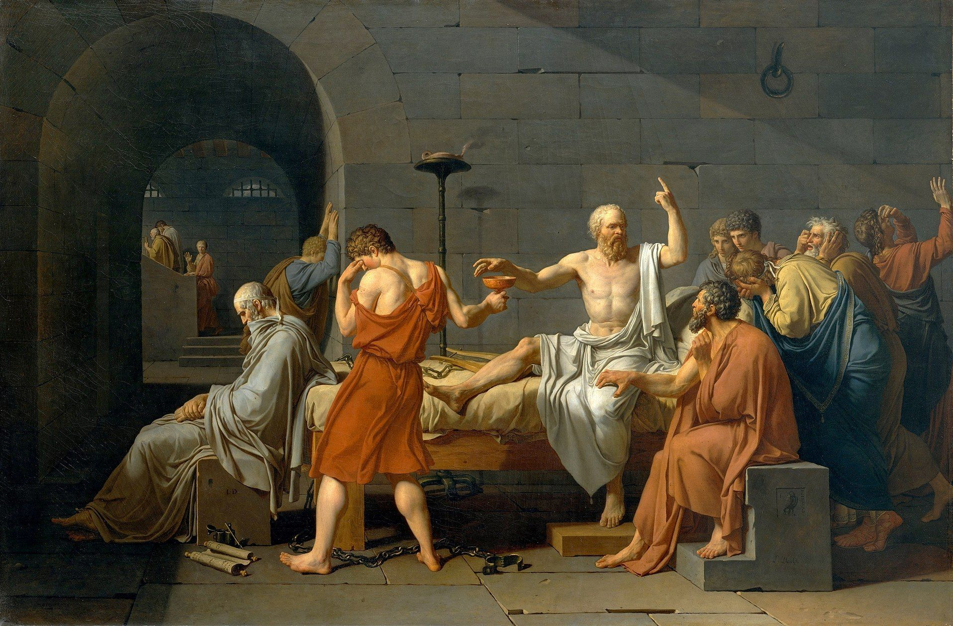 A painting of Socrates' arguing with his friends before execution.