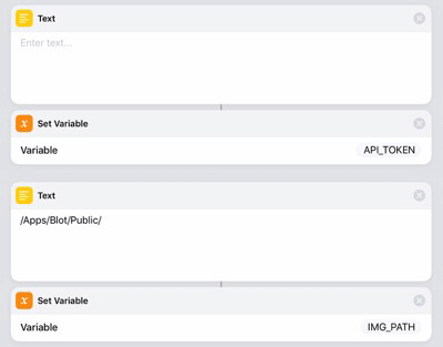 Setting the variables API_TOKEN and IMG_PATH