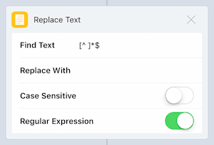 Action 'Replace Text' regular expression
