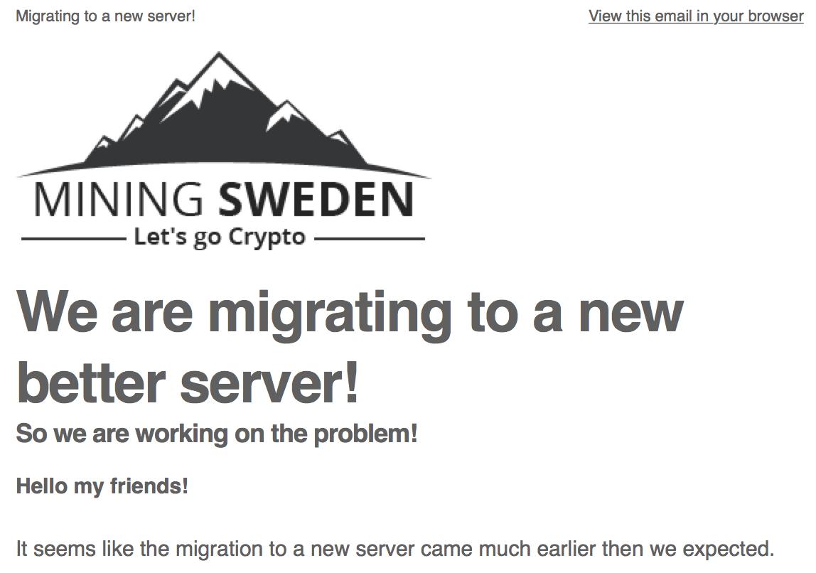 Mining Sweden New Server