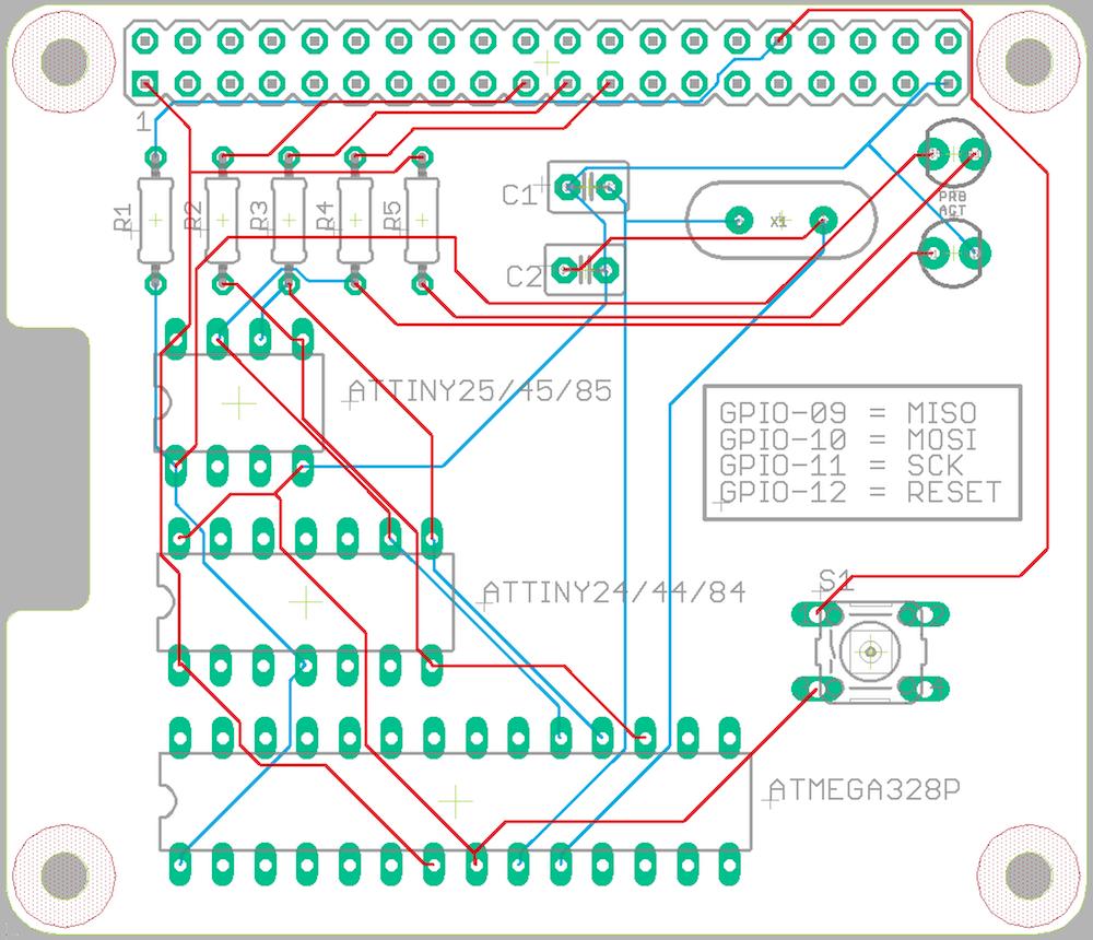 AVR Programmer HAT PCB