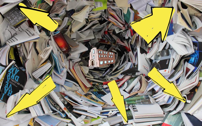 School reseeding into a vortex of books