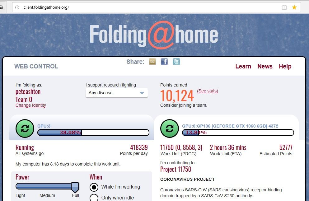 screenshot of the Folding@Home interface