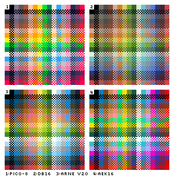 4x 16 color cross dither swatches