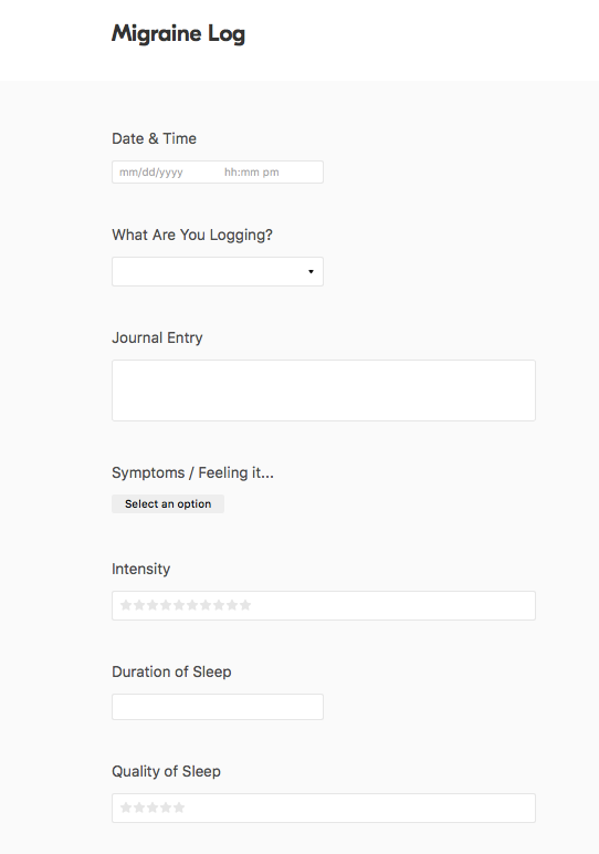Migraine Journal Form in Airtable