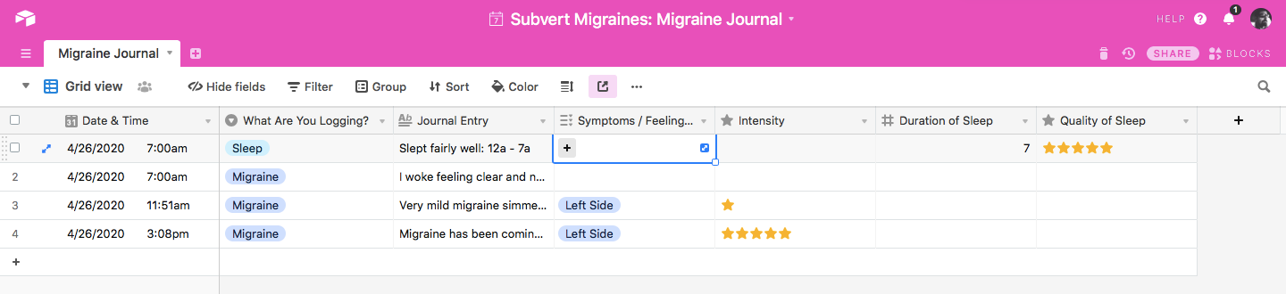 Migraine Journal in Airtable