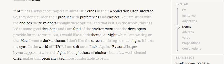 Edit Mode Noun Highlight