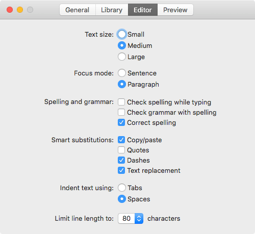 Preferences - Editor