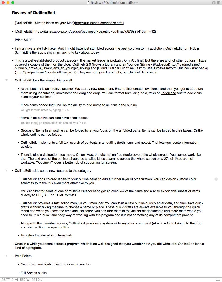 OutlineEdit Document