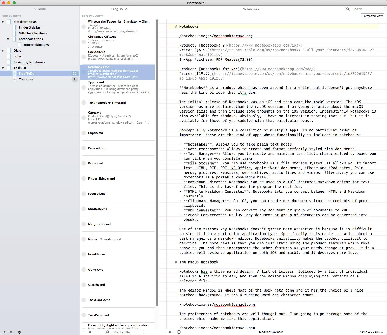 Notebooks Task List of Blog Entries