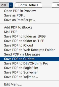 Save as PDF to Curiota