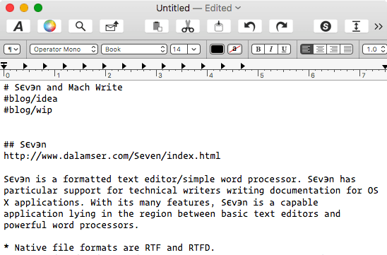 Mach Write screen