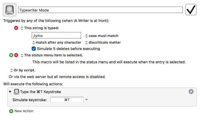 iA Writer: Typewriter Mode