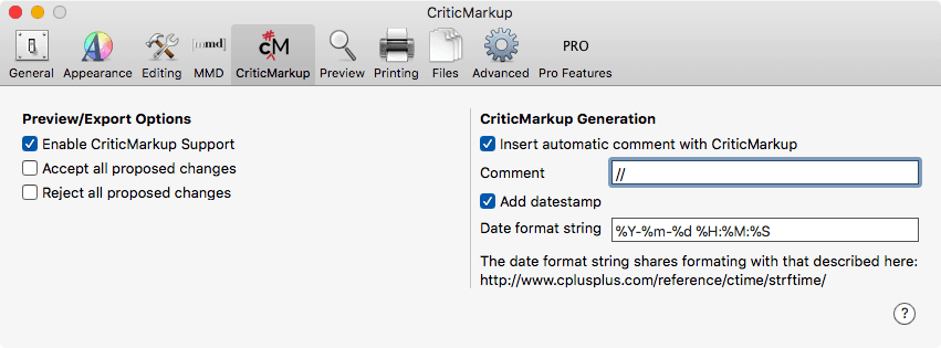 CriticMarkup Support