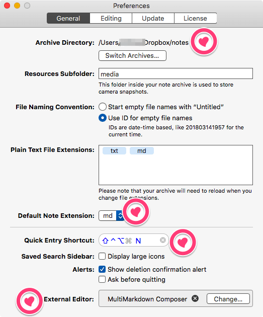 The Archive Preferences General