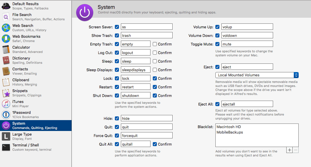 Alfred System Commands