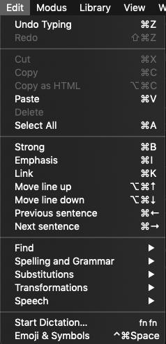 uFocus Keyboard Commands