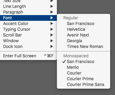 Paper Font Choices