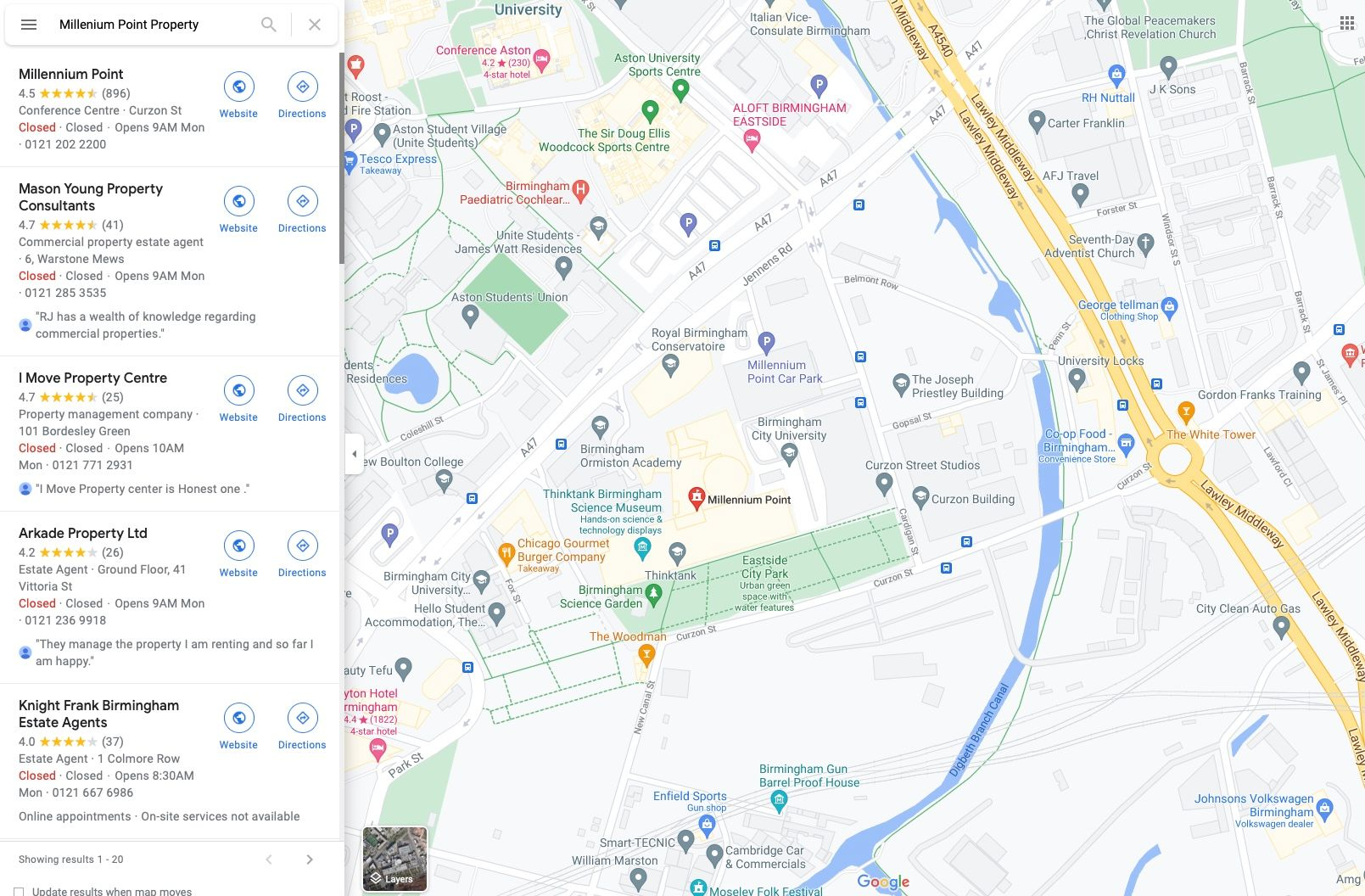birmingham city university (web only - google maps)