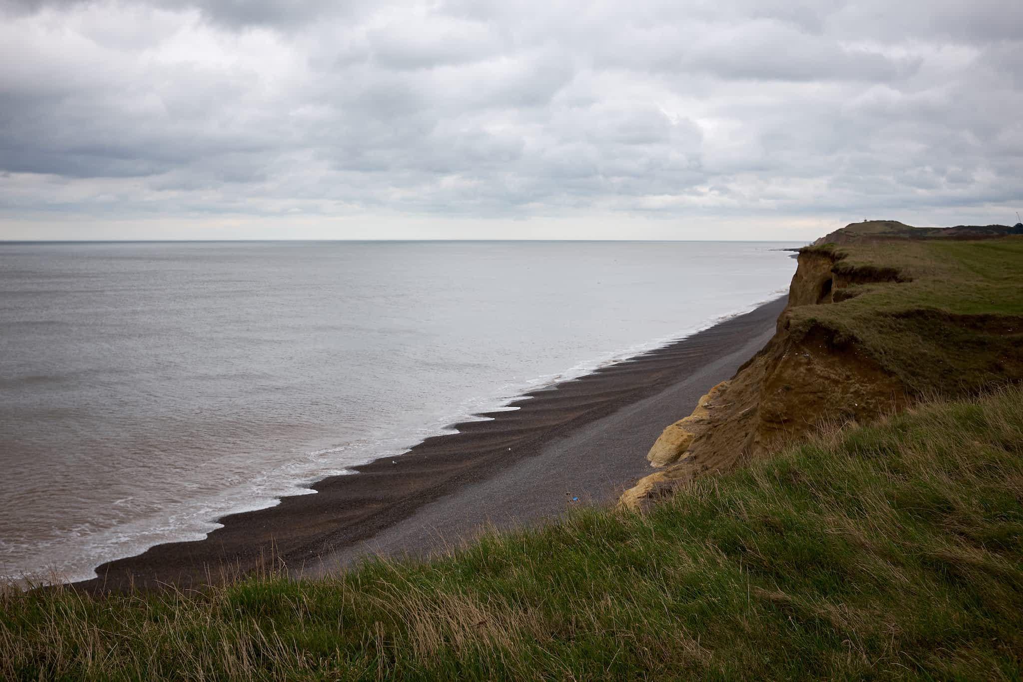 beach below the cliffs