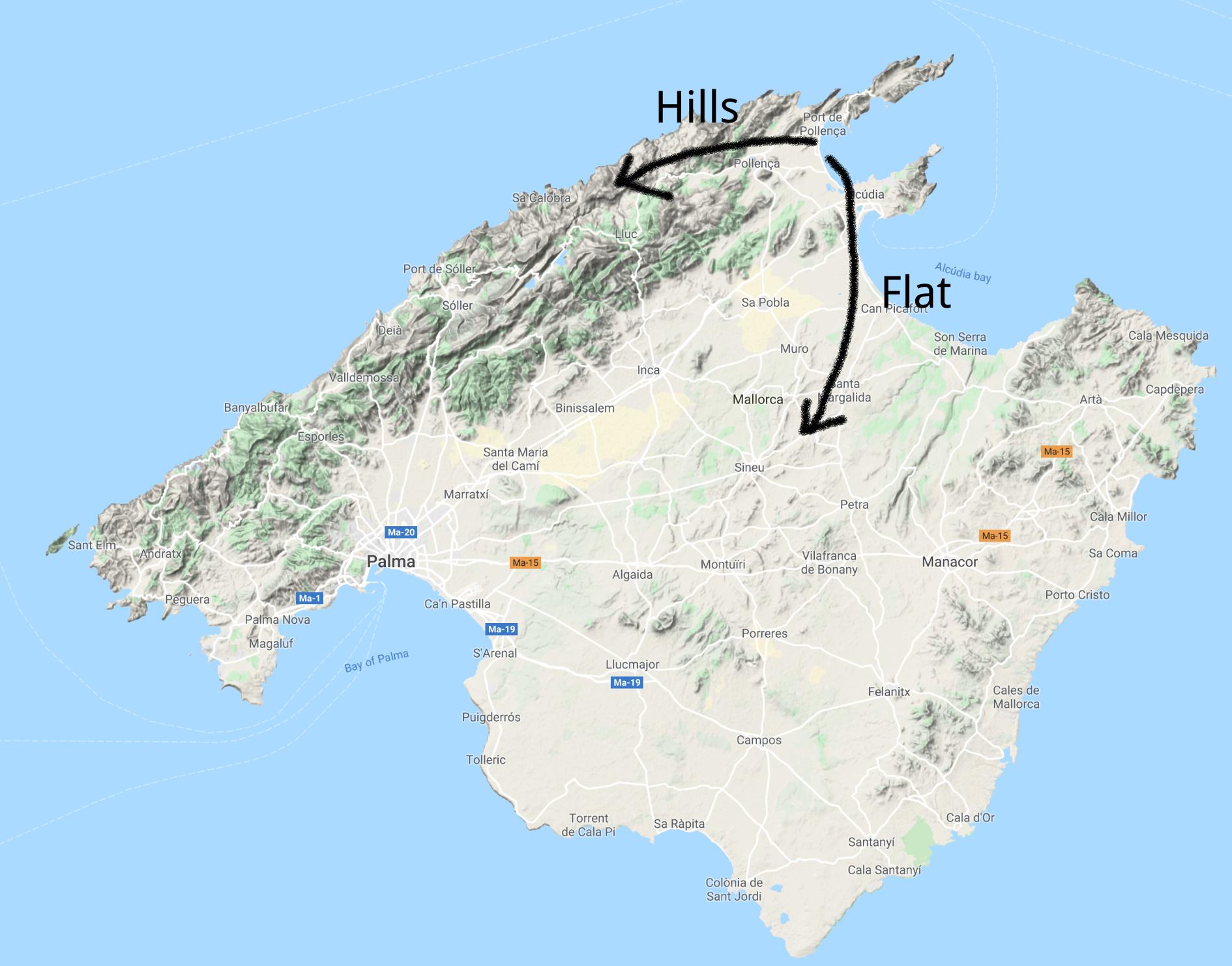 Majorca - hills or flat