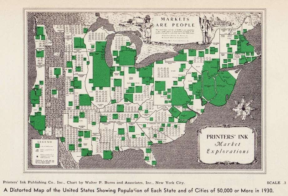 [map] [cartogram] Vintage infographics: Visualizations of American population distribution in 1930.
