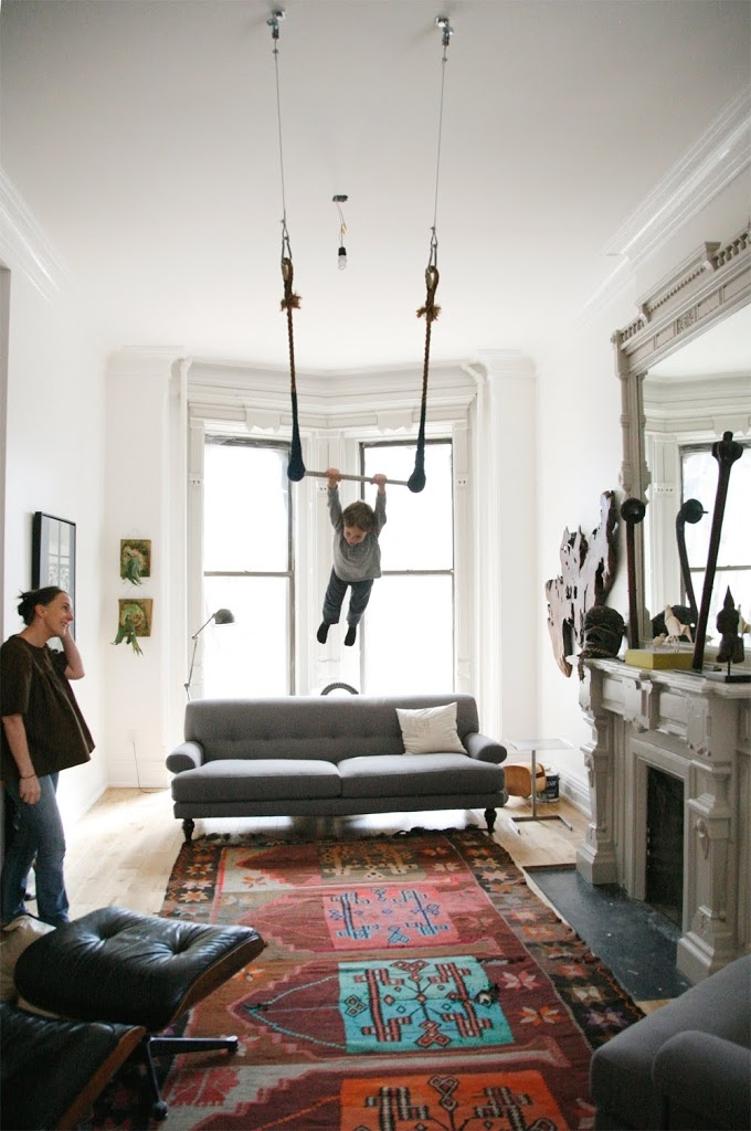 [living room] sophie-domenge-oeuf-trapeze-living-room-brooklyn-brownstone-