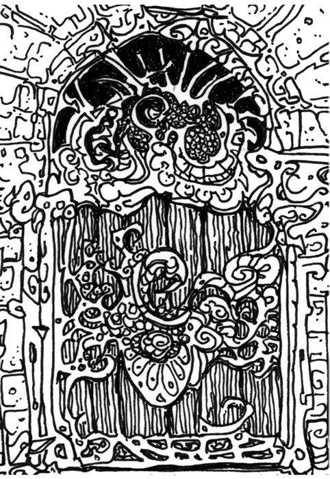 У задней стены крошечного, покрытого паутиной и пылью помещения под лестницей гравёра, где потолок самый высокий, стоит невероятная дверь, три фута в ширину и шесть в высоту. Она окрашена в лазурный синий цвет, с золотыми листьями в закрученных узорах, которые блестят в свете свечей.