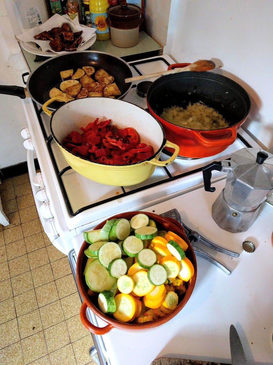 To make ratatouille, a lot of olive oil, ventilation, and many pans are essential.