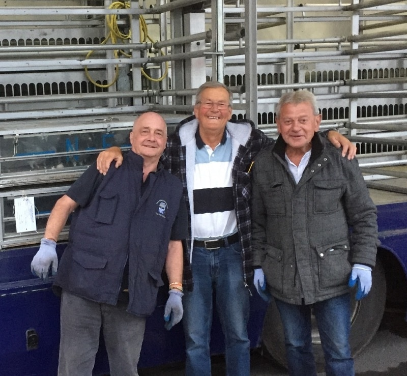 John Best with the NFC team at the Sheffield marking station loading the birds - Take note of the built-in watering system