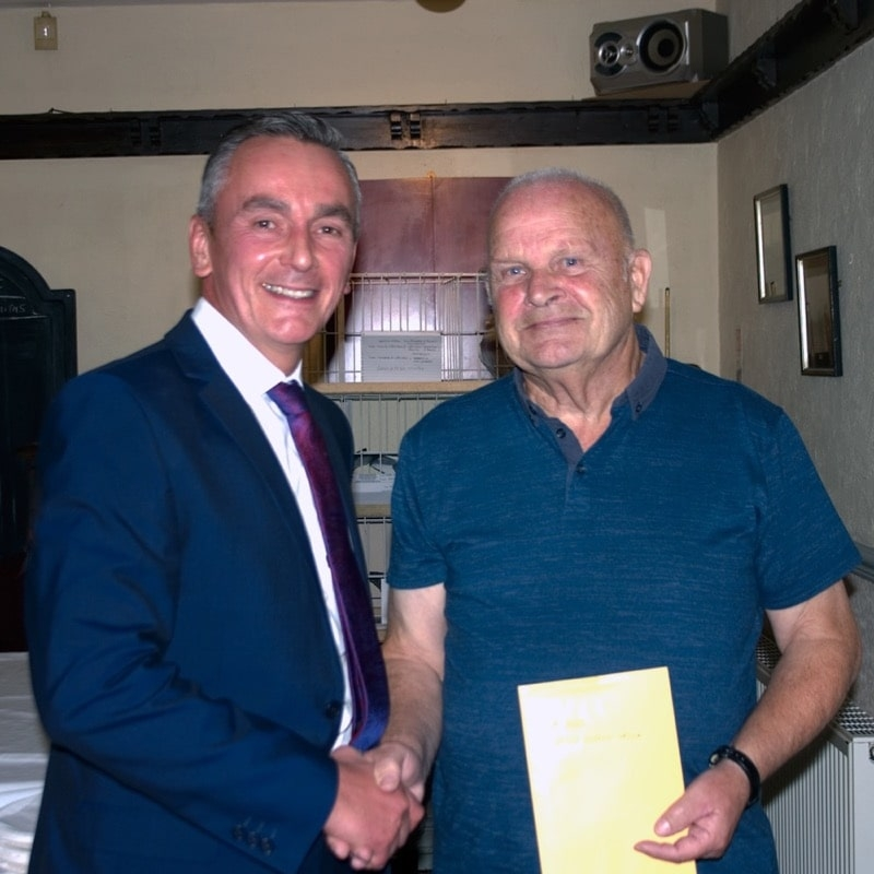 Alf Fellows of Ferryhill receiving his prizes from Barry Winter